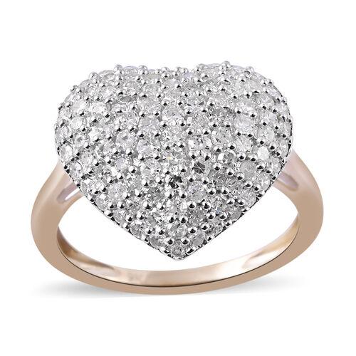 9K Yellow Gold SGL Certified (I3/G-H) Diamond (Rnd) Heart Ring 1.000 Ct.