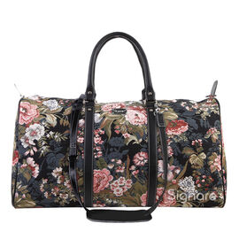 Signare - Big Holdall in Peony Design with Strap (55x27x23 cms) with FREE Eco Bag - Black,Green and