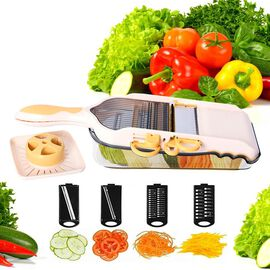 6 in 1 Multi Function Vegetable Slicer with Interchangeable Stainless Steel Blades (Size 37.5x13.8x5