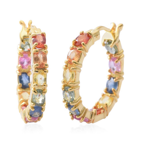 Rainbow Sapphire (Ovl) Hoop Earrings (with Clasp Lock) in 14K Gold Overlay Sterling Silver 5.150  Ct. Silver wt 5.80 Gms.