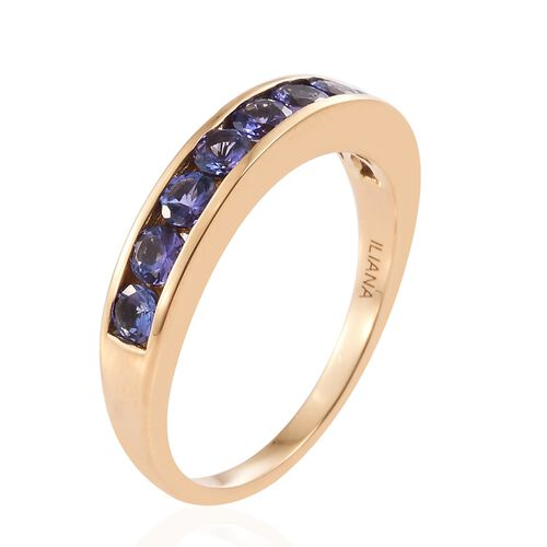 ILIANA 18K Yellow Gold AAA Tanzanite (Rnd) Half Eternity Band Ring 1.000 Ct.