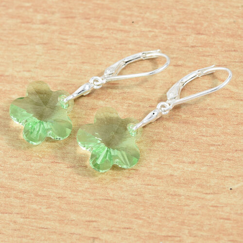 J Francis - Crystal from Swarovski Peridot Colour Crystal Lever Back Floral Earrings in Sterling Silver