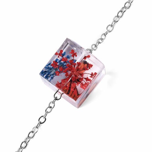 Dried Butterfly Square Necklace (Size 21 with 2 inch Extender) in Silver Tone