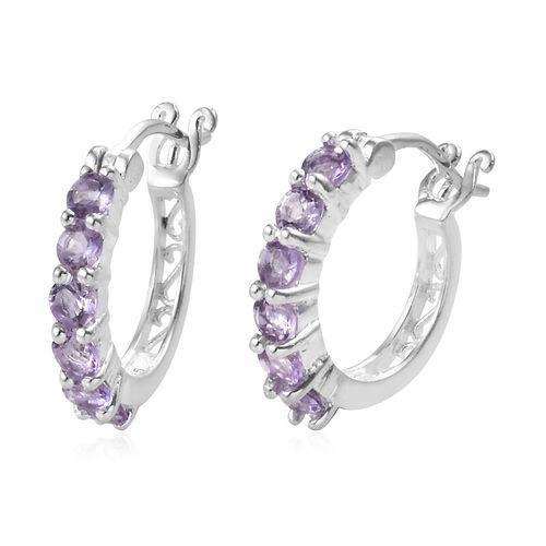 Rose De France Amethyst (Rnd) Hoop Earrings (with Clasp Lock) in Sterling Silver
