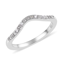 Diamond (Rnd) Wishbone Ring in Platinum Overlay Sterling Silver 0.15 Ct.