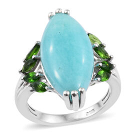 8 Carat Peruian Amazonite and Russian Diopside Halo Ring in Sterling Silver 4.08 Grams