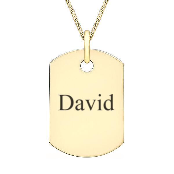 9ct yellow gold single dog tag pendant