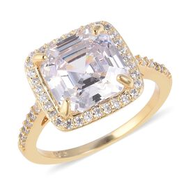 ELANZA Simulated White Diamond (Asscher Cut) Ring (Size T) in Yellow Gold Overlay Sterling Silver