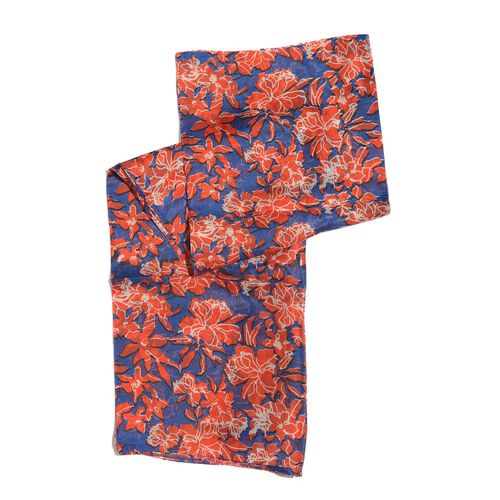 100% Mulberry Silk Blue, Red and Multi Colour Floral Pattern Pareo (Size 180x100 Cm)