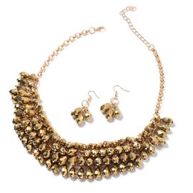 Set of 2 Simulated Champagne Diamond Earrings (with Hook) and Necklace (Size 20 and 4 inch Extender)