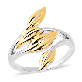 RACHEL GALLEY Leaf Ring in Rhodium and Yellow Gold Plated Sterling Silver