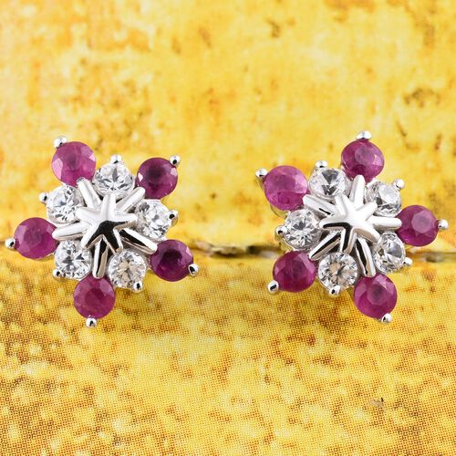 9K White Gold 1.75 Ct AAA Burmese Ruby Starburst Earrings (with Push Back) with Natural Cambodian Zircon