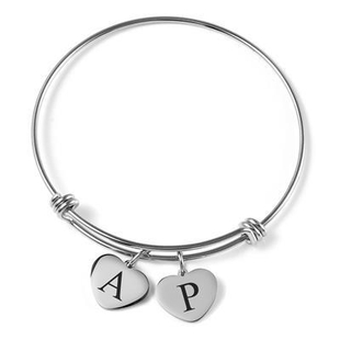 """Personalised Engravable 2 Heart Charm Bangle in Silver Tone, Size 7.5"""""""