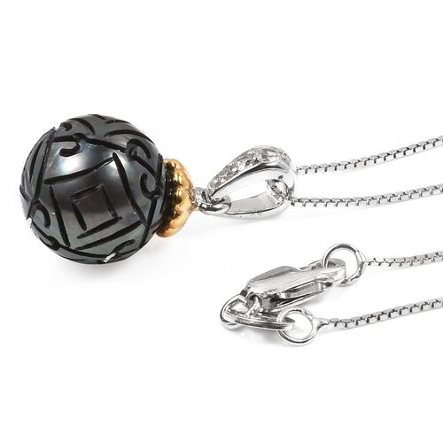Hand Carved Tahitian Pearl (Rnd 10-11mm), Natural Cambodian Zircon Pendant with Chain in Rhodium and Gold Plated Sterling Silver