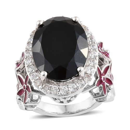 Black Tourmaline (Ovl 12.15 Ct), Natural Cambodian Zircon Ring in Platinum Overlay with Enameled Ste