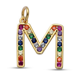 ELANZA Simulated Rainbow Sapphire Initial M Pendant in Yellow Gold Overlay Sterling Silver