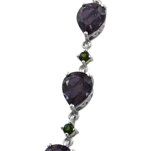 Alexandria Quartz (Pear 5.75 Ct), Russian Diopside Necklace (Size 18) in Platinum Overlay Sterling Silver 23.750 Ct.
