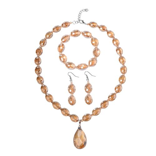 3 Piece Set - Simulated Morganite Necklace (Size 21 with 2.5 inch Extender), Hook Earrings and Stret