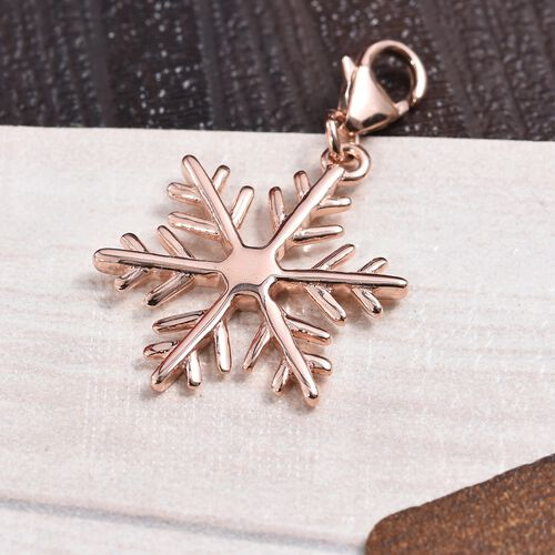 Rose Gold Overlay Sterling Silver Snowflake Charm