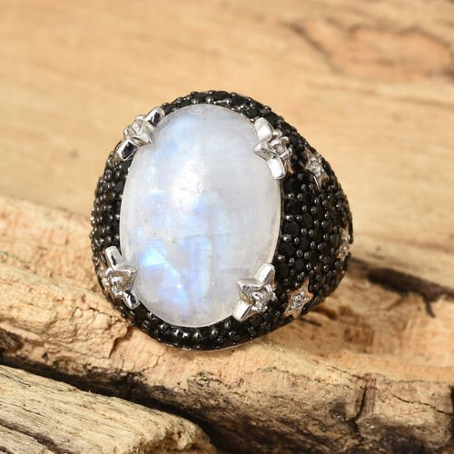 GP Rainbow Moonstone (Ovl 18x13 mm), Boi Ploi Black Spinel,Kanchanaburi Blue Sapphire and Natural Cambodian Zircon Ring in Platinum Overlay Sterling Silver 14.000 Ct.