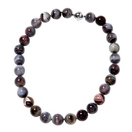 20 Inch Extremely Rare Botswana Agate Beaded Necklace in Rhodium Plated Sterling Silver 2 Grams