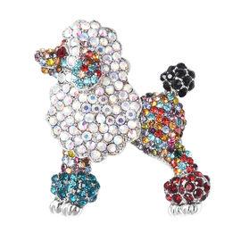 Multicolour Austrian Crystal (Rnd) Dog Brooch or Pendant