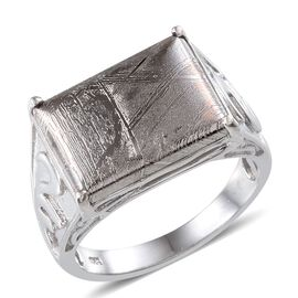 Meteorite (Bgt) Ring in Platinum Overlay Sterling Silver 16.500 Ct.