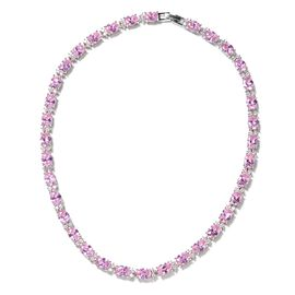 Simulated Pink Sapphire and Simulated Diamond Tennis Necklace in Silver Tone 16 Inch