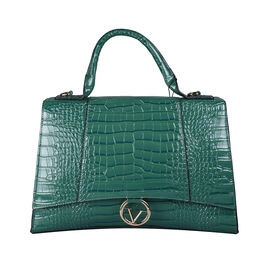 19V69 ITALIA by Alessandro Versace Crocodile Pattern Satchel Bag with Detachable Stap and Metallic Clasp Closure (Size 35x23.5x13cm) - Green