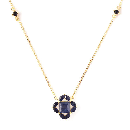 Isabella Liu Floral Collection - AA Masoala Sapphire Necklace (Size 18) in Yellow Gold Overlay Sterl