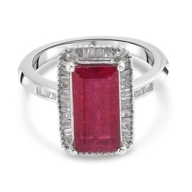 African Ruby (FF) and Diamond Ring in Platinum Overlay Sterling Silver 4.218 Ct.