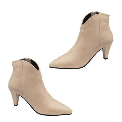 Ravel Croc-Print Levisa Leather Ankle Boots (Size 5) - Ivory