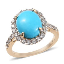 4 Carat AA Arizona Sleeping Beauty Turquoise and Zircon Halo Ring in 9K Yellow Gold 2.60 Grams