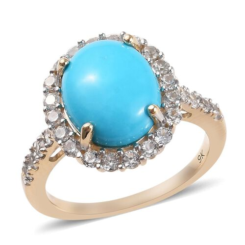 4 Carat AA Sleeping Beauty Turquoise and Zircon Ring in 9K Yellow Gold 2.60 Grams