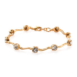 J Francis - Crystal from Swarovski White Colour Crystal (Rnd) Bracelet (Size 7.5) in 18K Yellow Gold