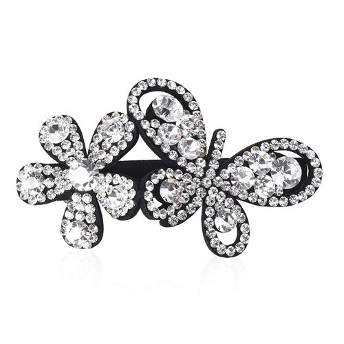 Austrian Crystal Butterfly & FlowerHair Clip - White