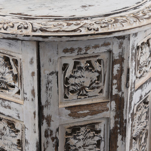 Hand Carved Solid Wood Antique Finished Side Table with Storage  (Size 38x38x38 cm)