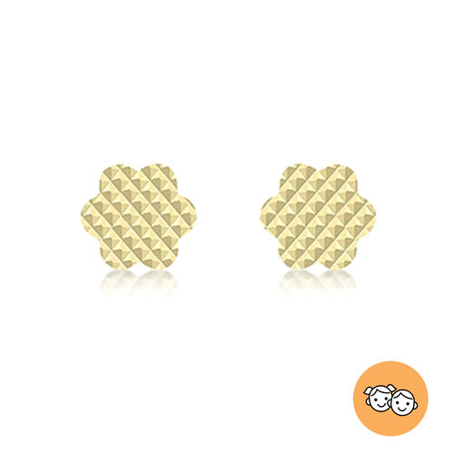 9K Yellow Gold Diamond Cut Flower-Shaped Stud Earrings (with Push Back)