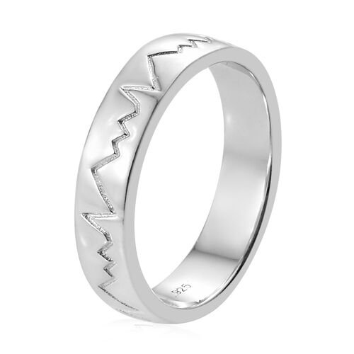 Platinum Overlay Sterling Silver Heart Beat Band Ring
