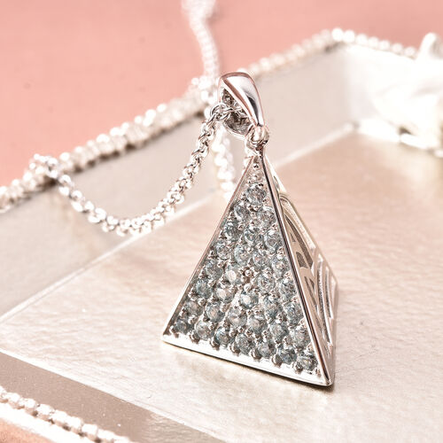 Isabella Liu Sea Rhyme Collection - AA Ratanakiri Blue Zircon Pyramid Shape Pendant with Chain (Size 30) in Rhodium Overlay Sterling Silver 1.68 Ct, Silver wt 12.66 Gms