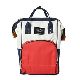 Red, White and Navy Colour Multi Pocket Backpack with Zipper Closure and Adjustable Shoulder Strap (
