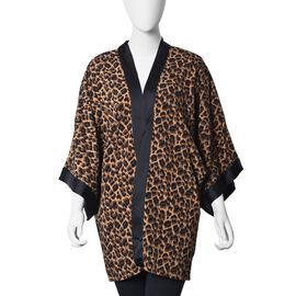 Leopard Print Kimono (Size 83.8x71.1 Cm) - Brown and Black Colour (One Size Fits All)