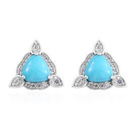 3.5 Ct AA Arizona Sleeping Beauty Turquoise and Cambodian Zircon Stud Earrings in Sterling Silver
