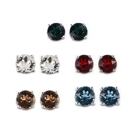 Set of 5 -  J Francis Crystal From Swarovski Aquamarine, Emerald, and Multi Colour Swarovski Crystal