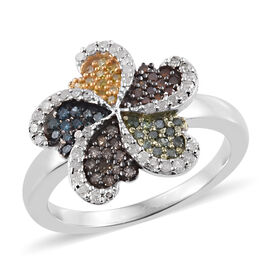 Designer Inspired - Multi Colour Diamond (Rnd) Ring in Platinum Overlay Sterling Silver 0.500 Ct, Nu