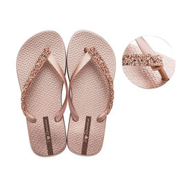 Ipanema Glam Special Crystal Flip Flop in Rose Gold (Size 3)