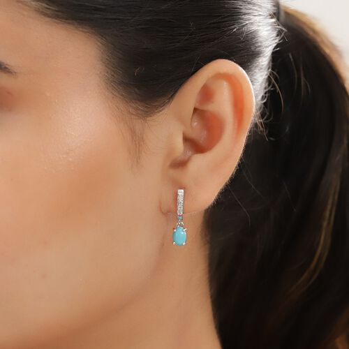 Arizona Sleeping Beauty Turquoise and Natural Cambodian Zircon Hoop Earrings with Drop in Platinum Overlay Sterling Silver 1.63 Ct.