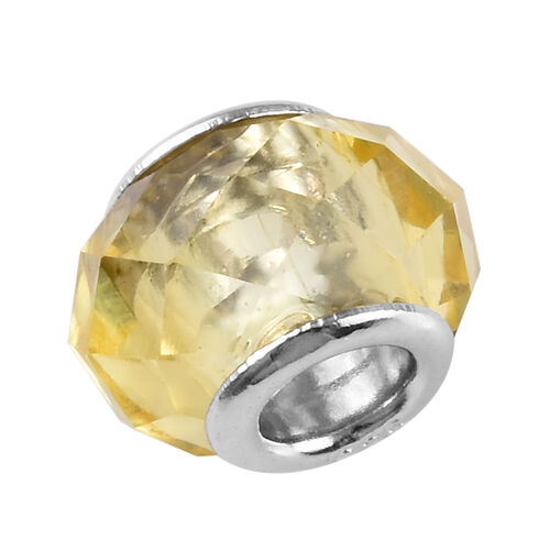 Charmes De Memoire Light Yellow Murano Style Glass Charm in Platinum Plated Sterling Silver