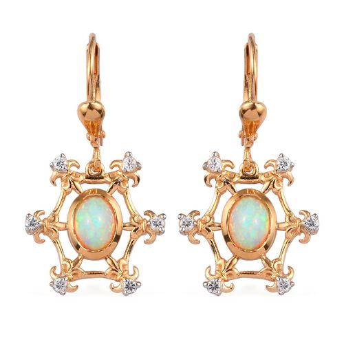 Ethiopian Welo Opal and Natural Cambodian Zircon Lever Back Earrings in 14K Gold Overlay Sterling Si