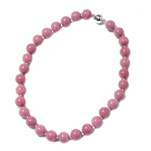 432 Ct Extremely Rare Zaire Rhodonite Necklace in Rhodium Plated Sterling Silver 20 Inch